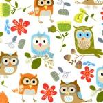 CF1823-WHT White Owls Flannel
