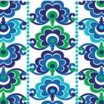 25019-blu1 Blue Floral Stripe