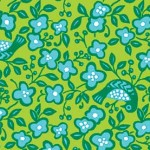 25023-gre1 Green Birds and Flowers