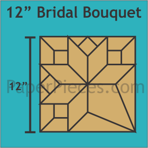 Bridal Bouquet 12 Block Acrylic Fabric Cutting Template