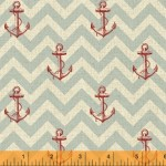 41346-1 Red Anchors on Blue Chevron