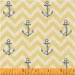 41346-3 Blue Anchors on Yellow Chevron