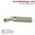 zipper pulls handmade in nickel