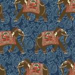2016 B89 Elephant on Dark Blue Paisley