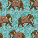 2016 T30 elephants on turquoise paisley