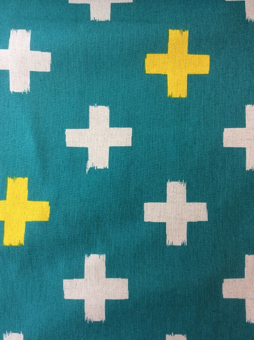 Cream Amp Yellow Pluses On Teal Canvas Sew Hot