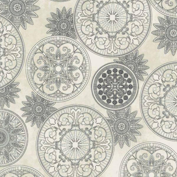 Star gazing metallic celestial medallions parchment silver for Celestial fleece fabric