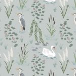 A220.1 swan and heron on light grey