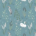 A220.2 swan and heron on teal