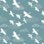 A221.2 swans in flight on teal