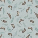 A222.1 playful otters on pale blue