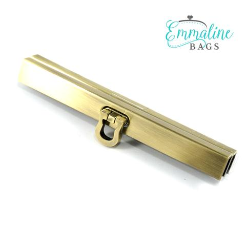 Emmaline Bags Wallet Closure 4 5″ (Bar Channel Lock with Flip Clasp) in  Brushed Antique Brass