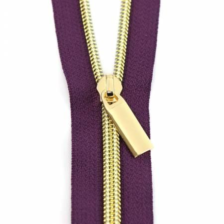 Zips By the Yard Purple Tape & Gold Metallic-Look Nylon Teeth